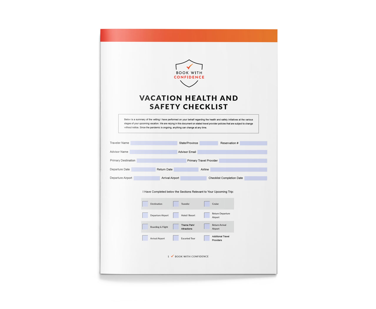 Vacation Health and Safety List